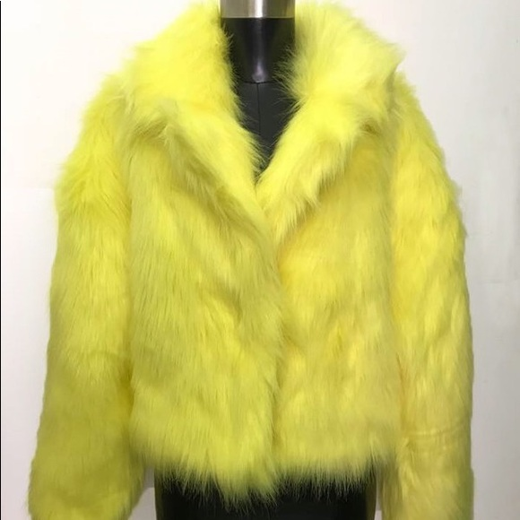 Jackets & Blazers - Neon yellow fur jacket